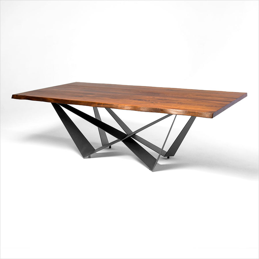 dining table with walnut top and black metal base