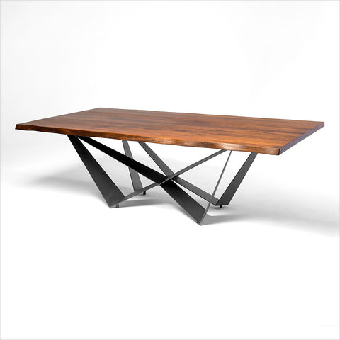 contemporary table / glass / steel / stainless steel