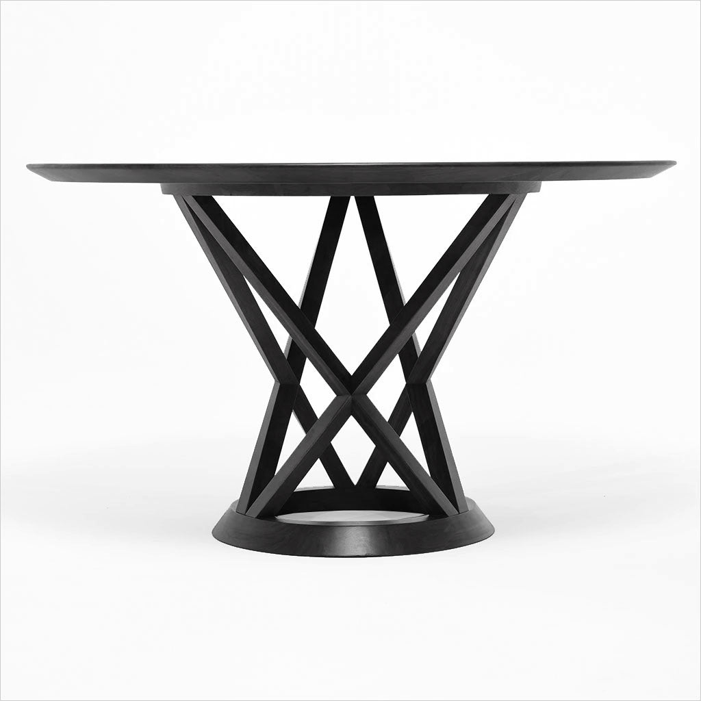 round black stained ash dining table