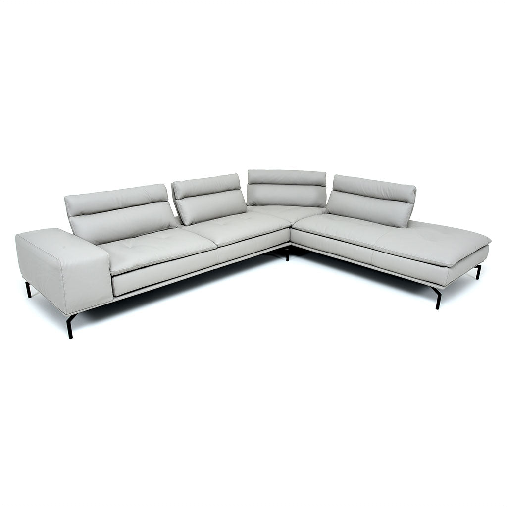 grey leather sectional with adjustable backs