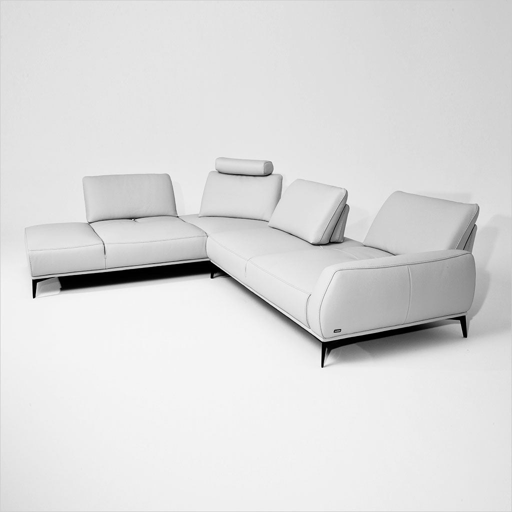 leather sectional with adjustable backs