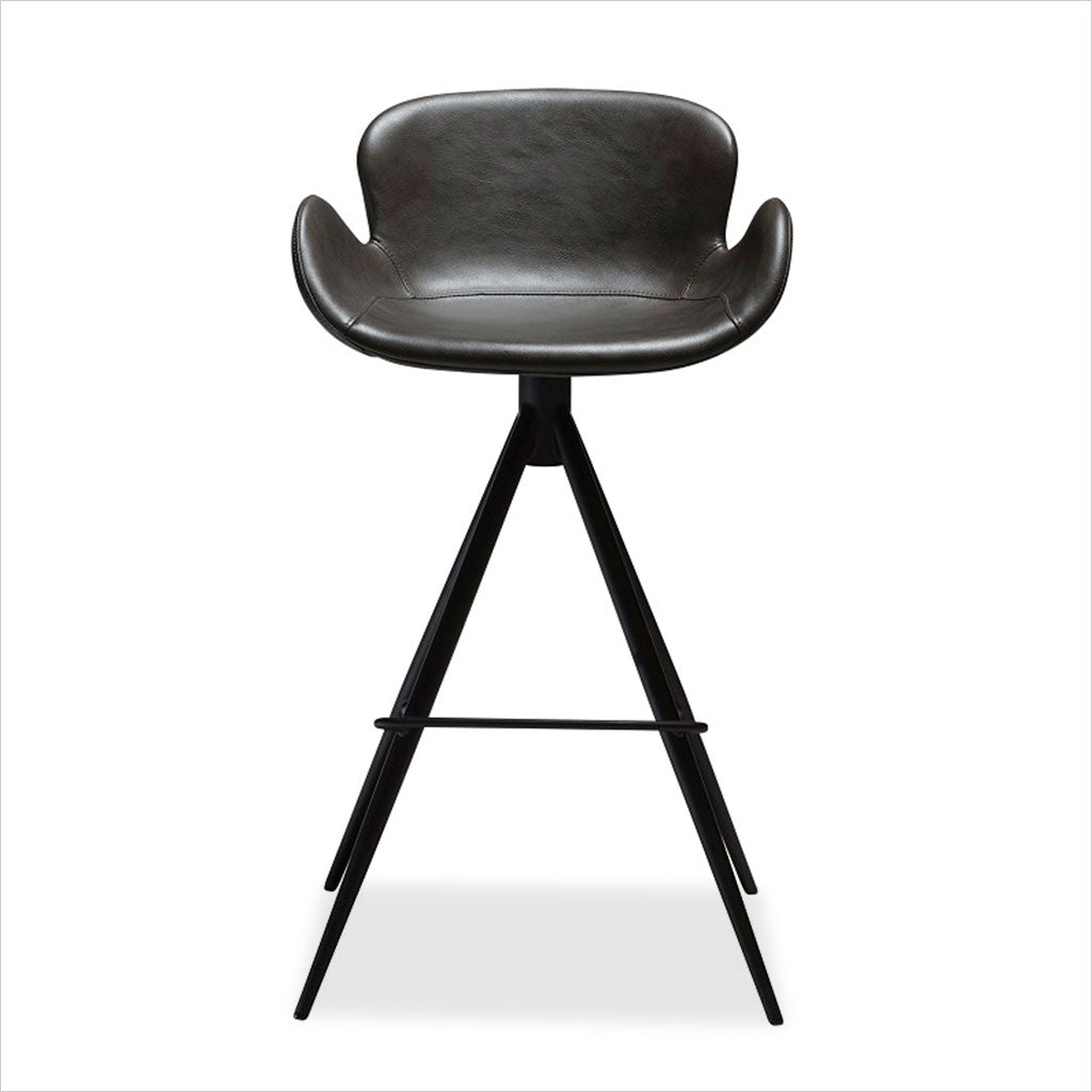 counter stool with swivel seat in eco-pele leather and metal base