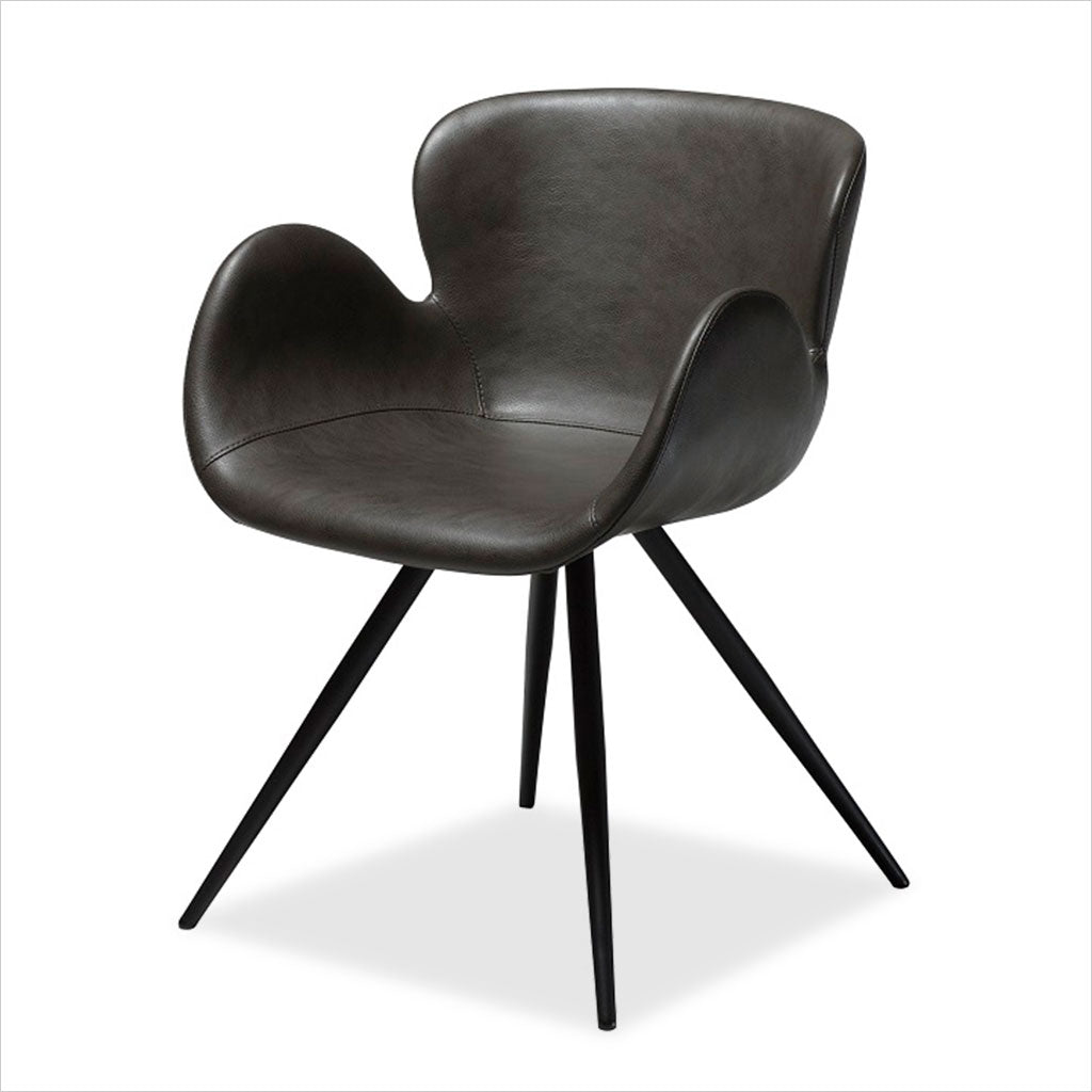 dining chair with swivel seat in eco-pele leather textile and metal base