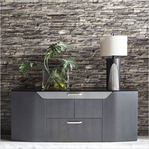 credenza with glass top and metal accents
