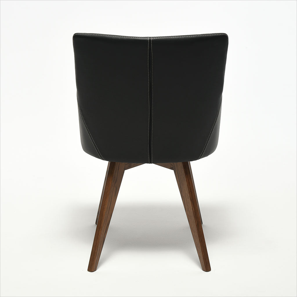 leather dining armchair with wood legs