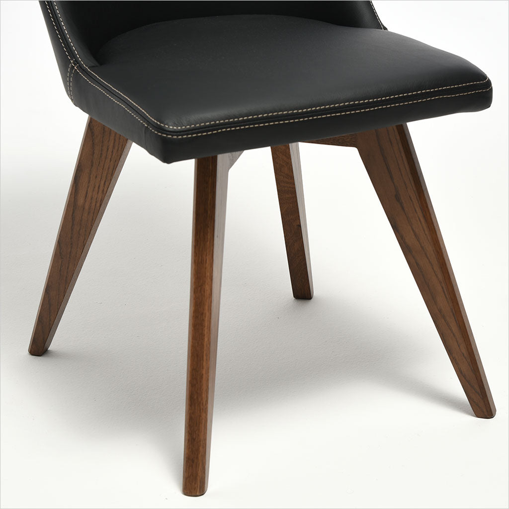 leather dining chair with wood legs