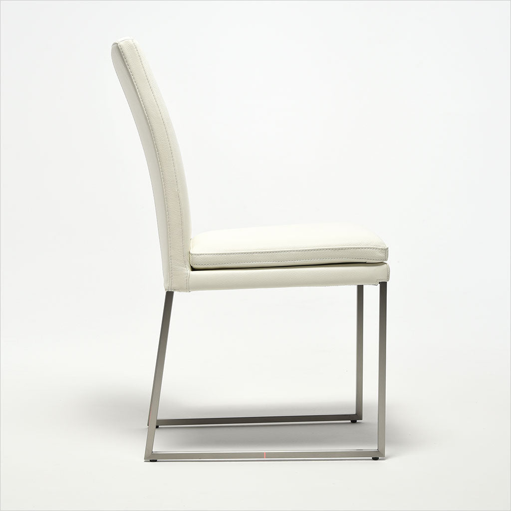 white leather dining chair with metal base
