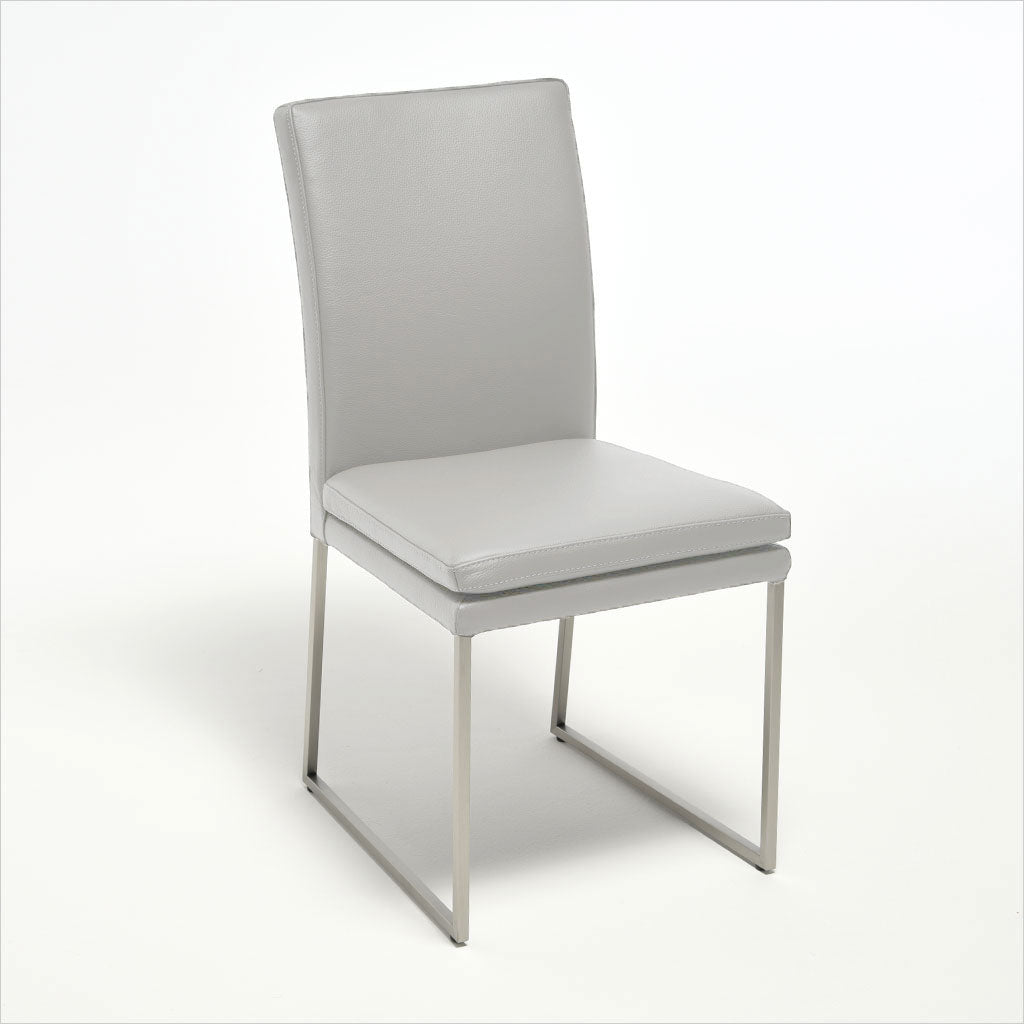 light grey leather dining chair with metal base
