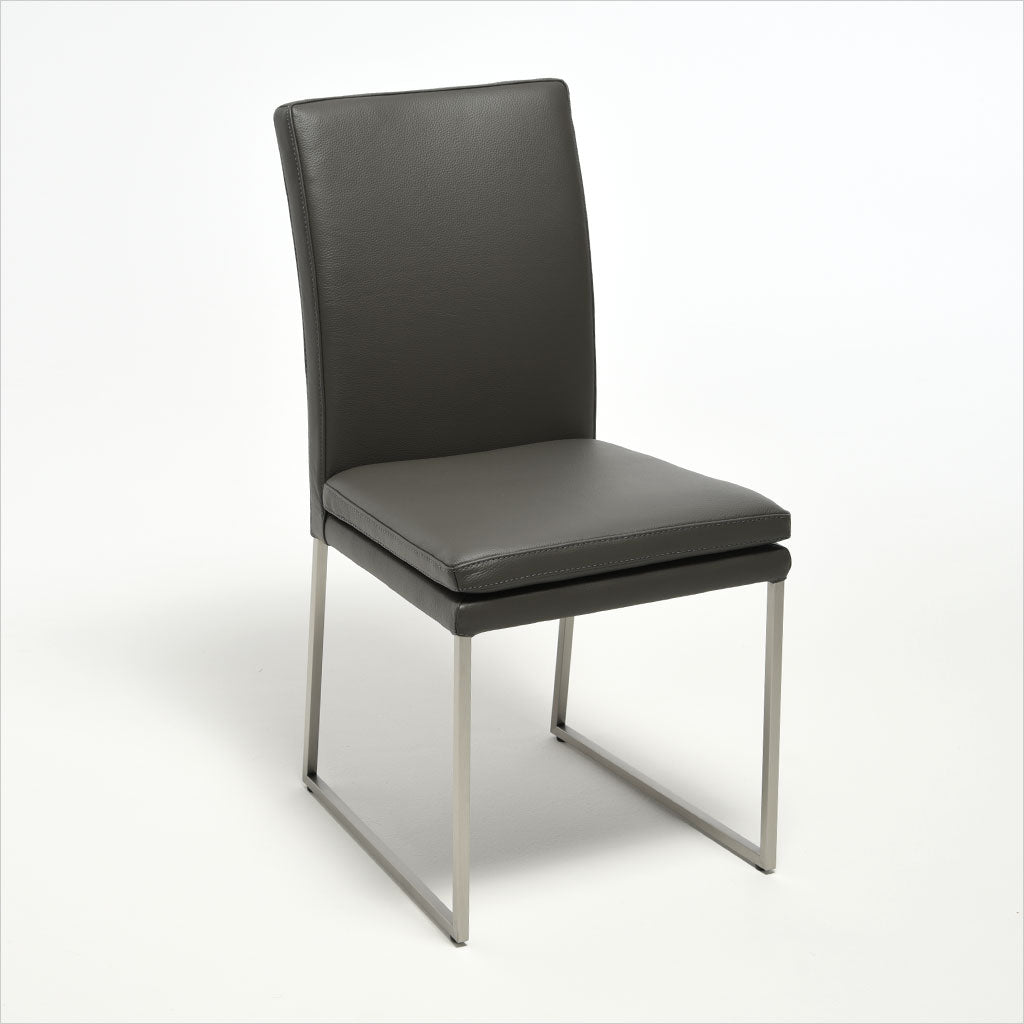grey leather dining chair with metal base