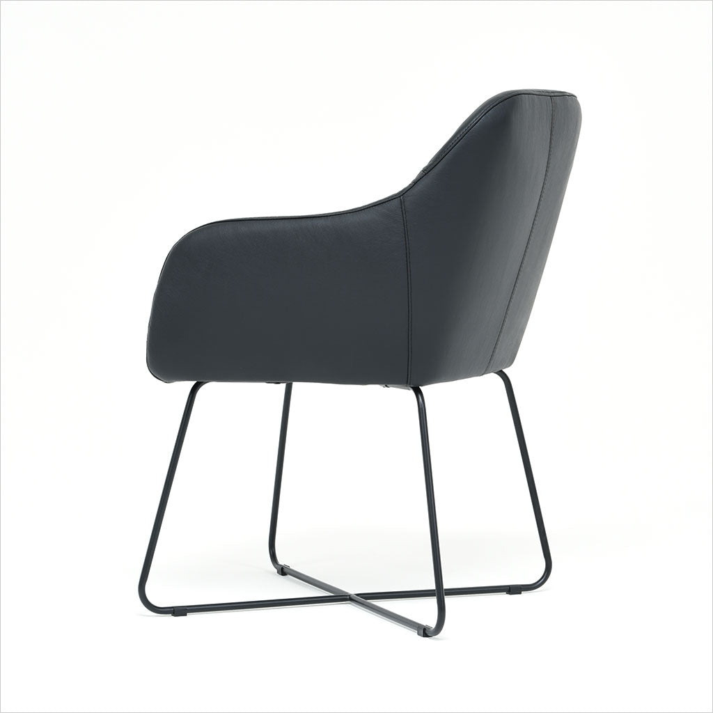 leather dining armchair with metal base