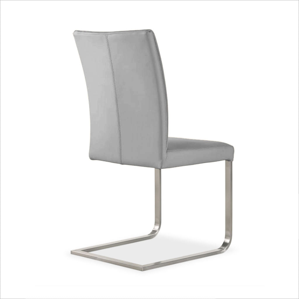 grey leather dining chair with cantilever base