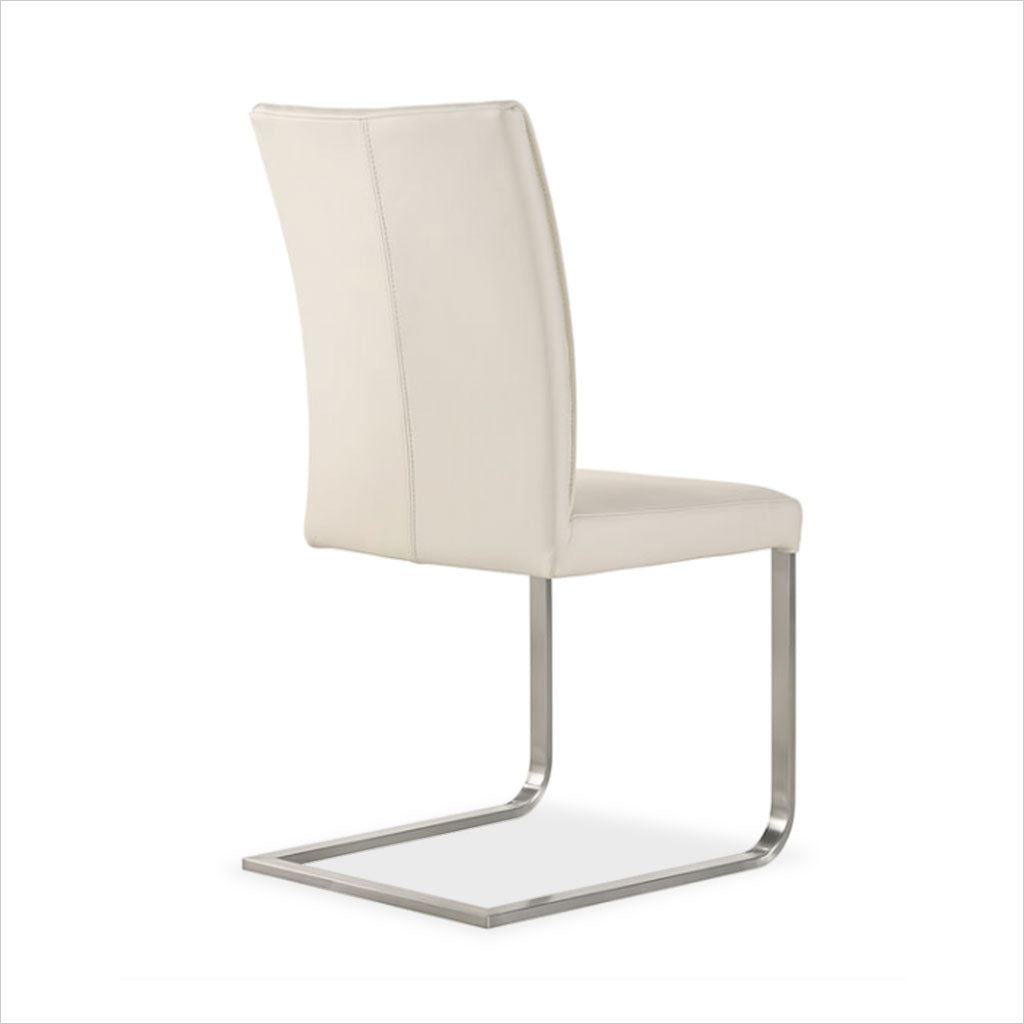 white leather dining chair with cantilever base