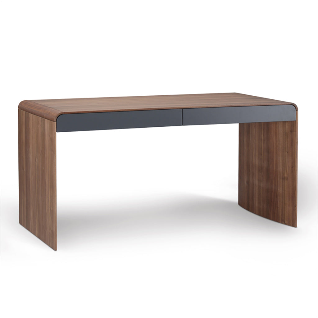 walnut and grey lacquer desk