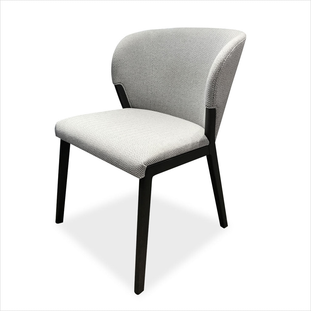 dining chair with upholstered seat and back in light grey fabric