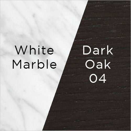white marble and dark oak wood swatch