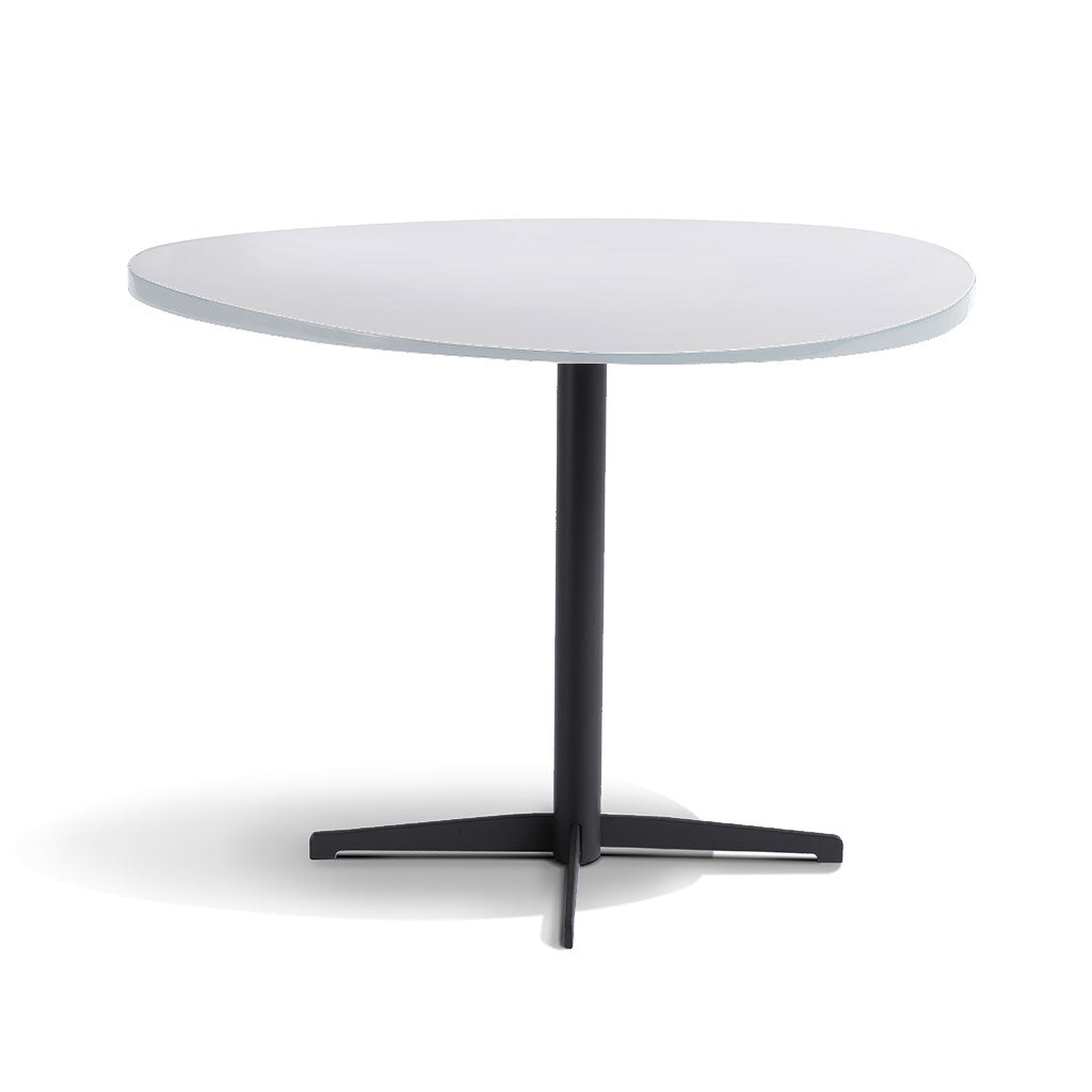 white matt laquer top end table with pedestal base