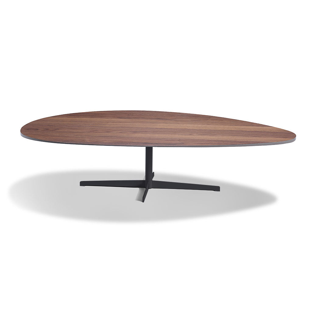 natural walnut top coffee table with pedestal base