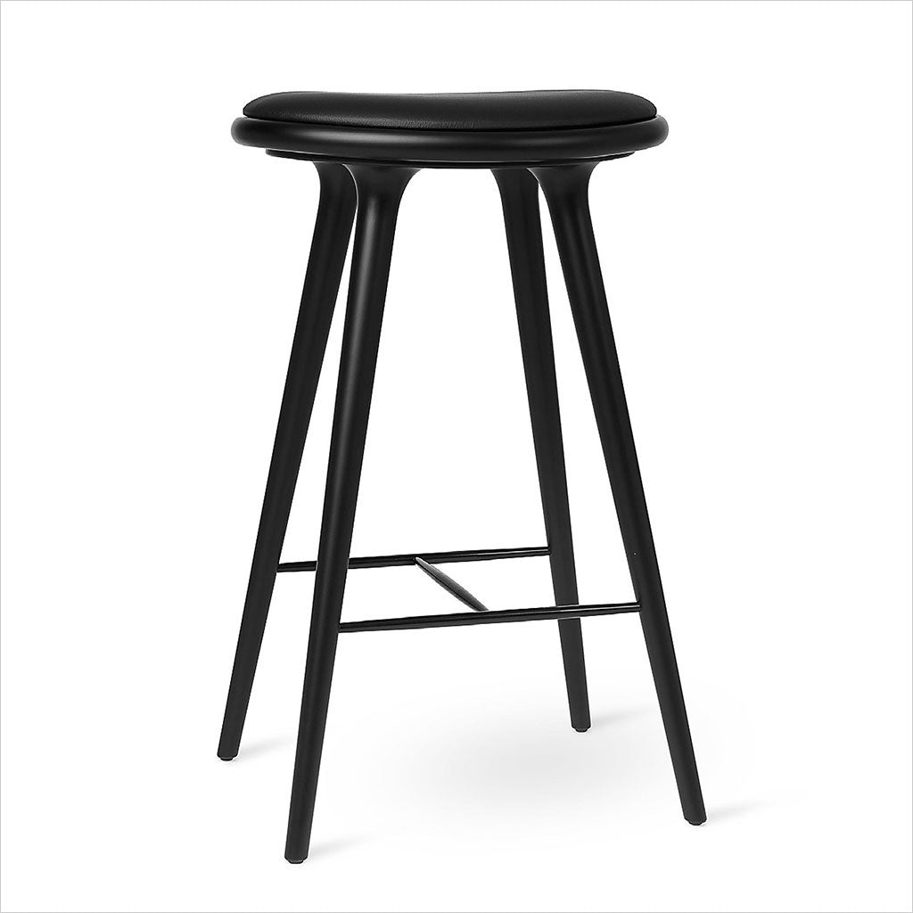 wood barstool with leather seat