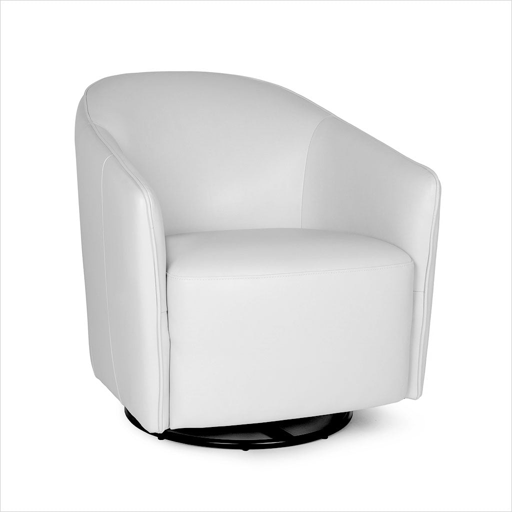 Rene Swivel Chair White Leather Scan Design Modern And Contemporary Furniture Store