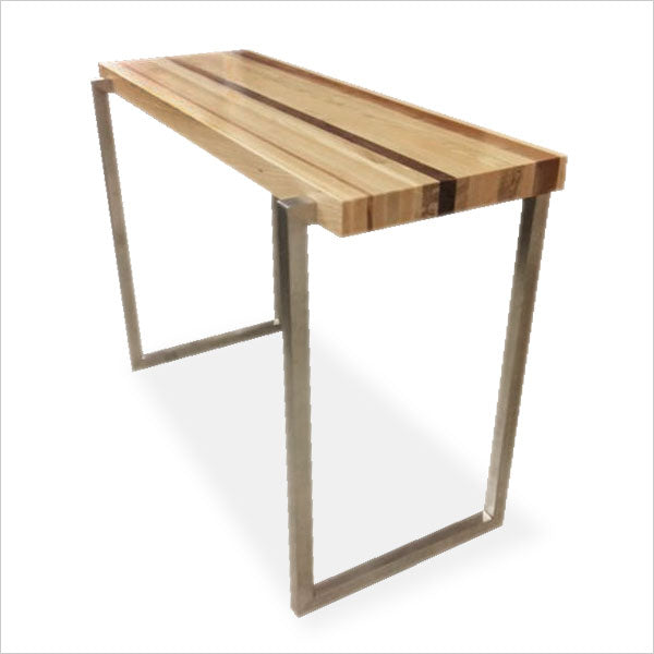 console table with solid wood and polished stainless base