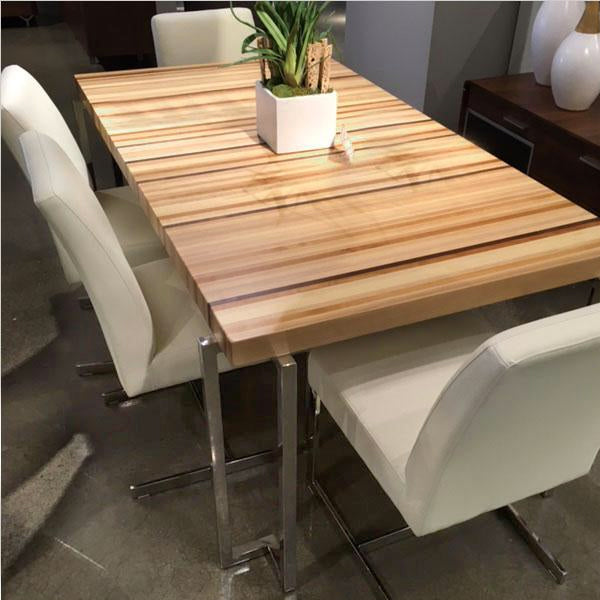 dining table with solid wood and polished stainless base