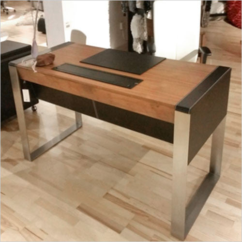 walnut and black leather desk