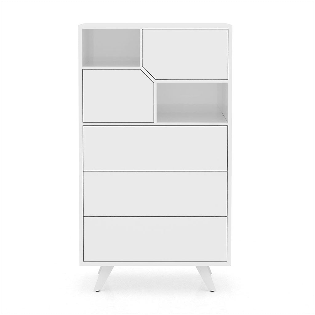 white high chest with angled drawers