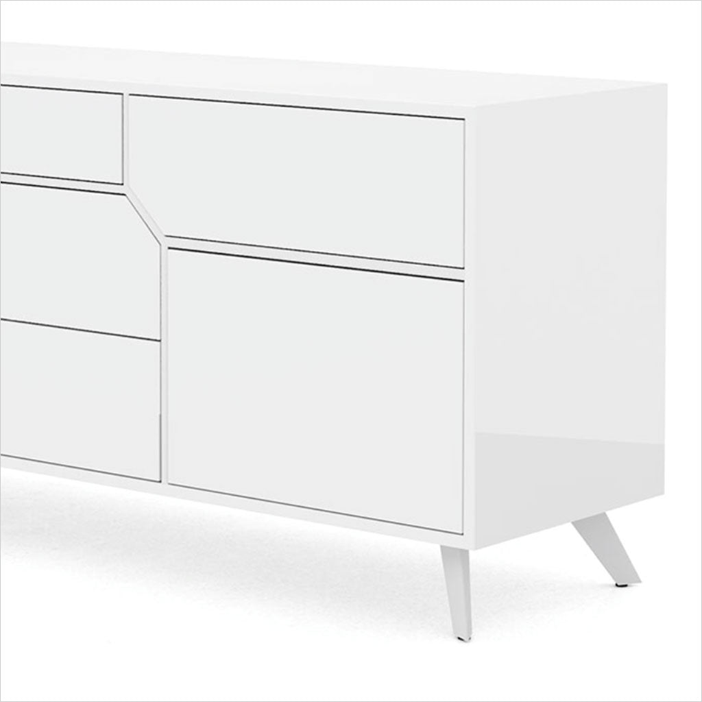 white dresser with angled drawers
