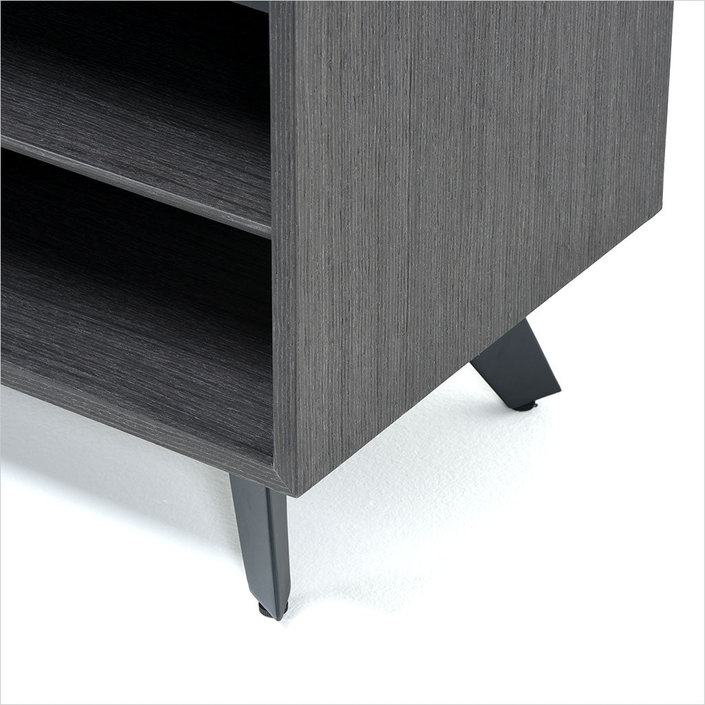 grey oak tv stand with angled drawer and cabinet