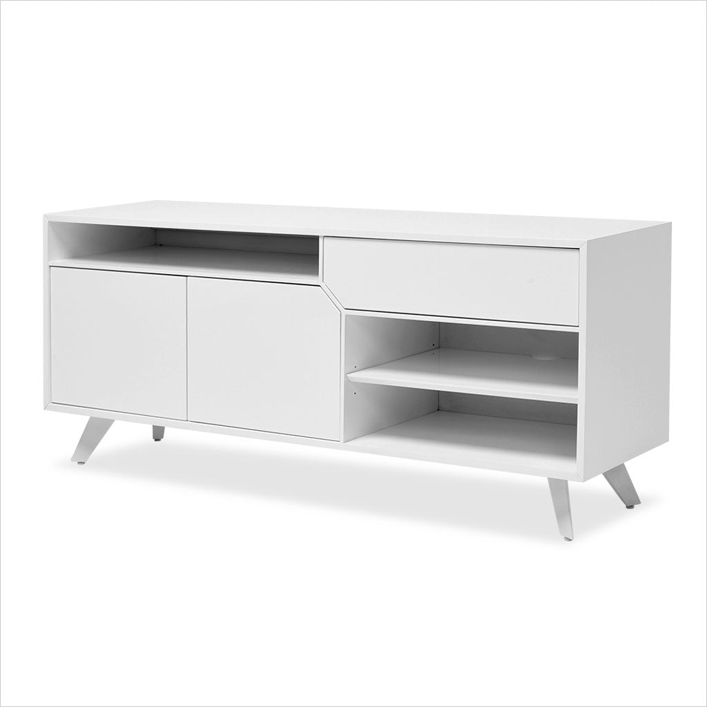 white tv stand with angled drawer and cabinet