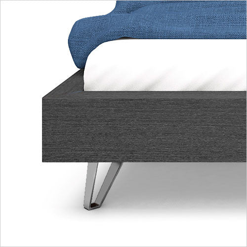 Contour Platform Bed Charcoal Finish Nickel Accents