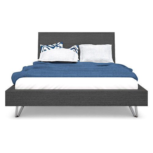 grey platform bed with metal legs