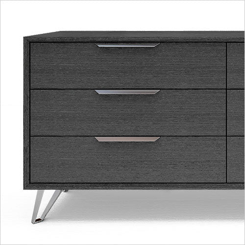 grey double dresser with metal accents