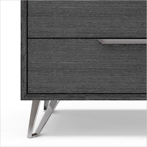 grey 5-drawer high chest with metal accents