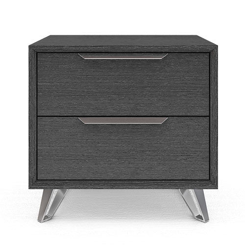 grey 2-drawer nightstand with metal accents