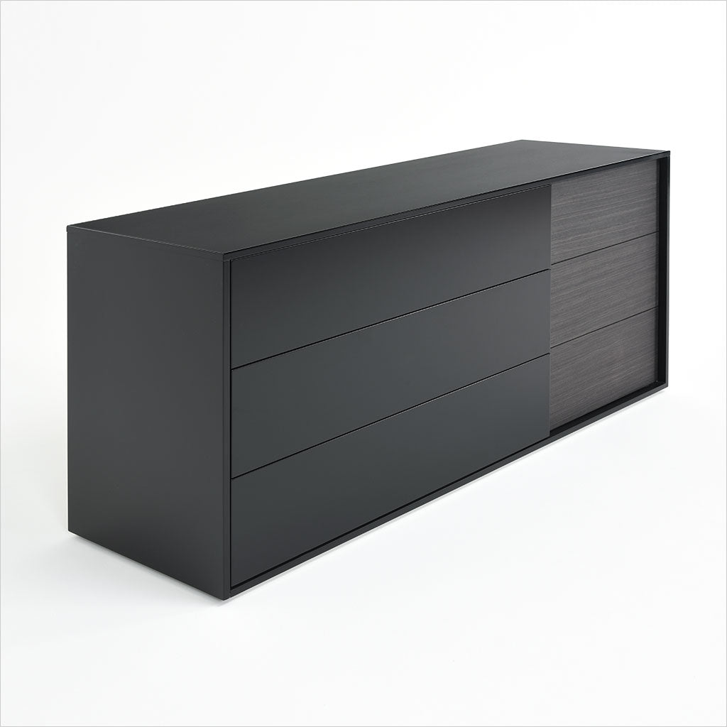 black dresser with wood accent