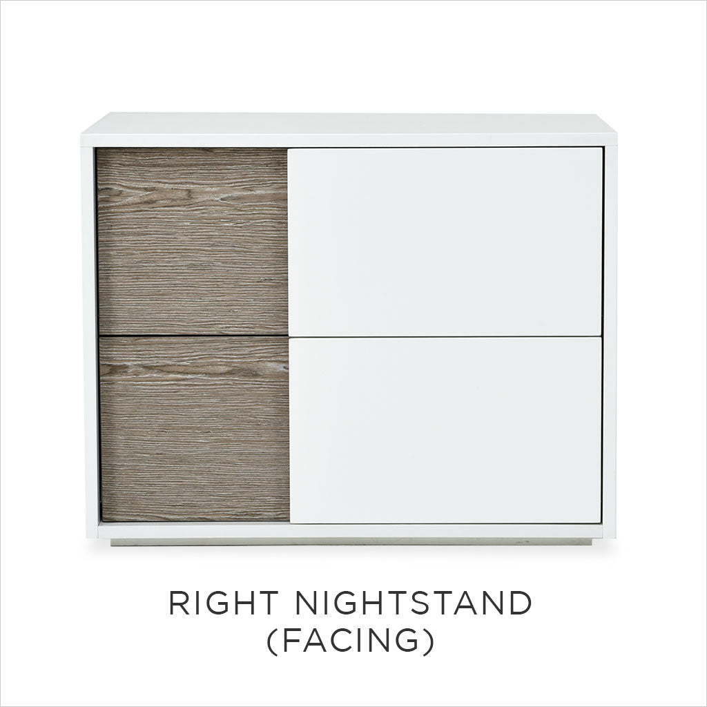 white nightstand with wood accent