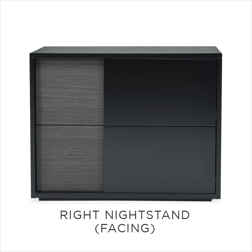 black nightstand with wood accent