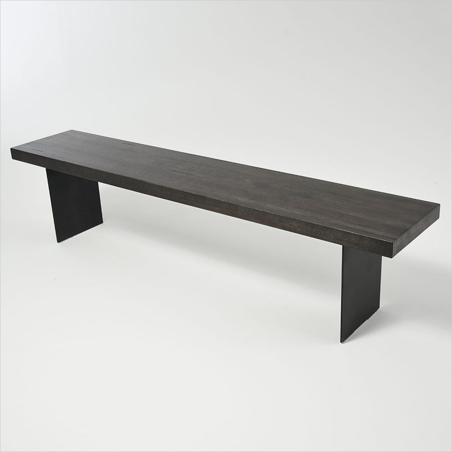 bench with wood seat and metal legs