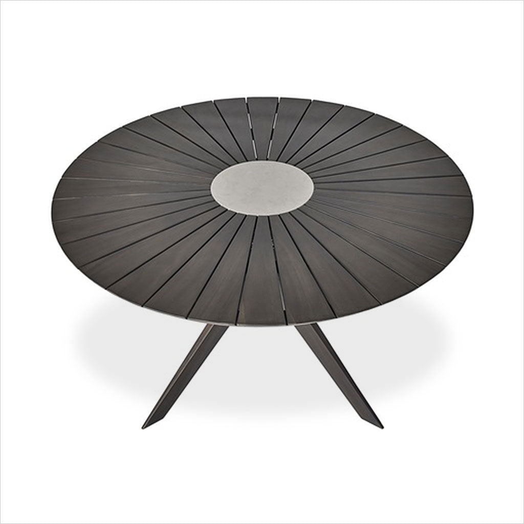 round outdoor dining table in grey eucalyptus