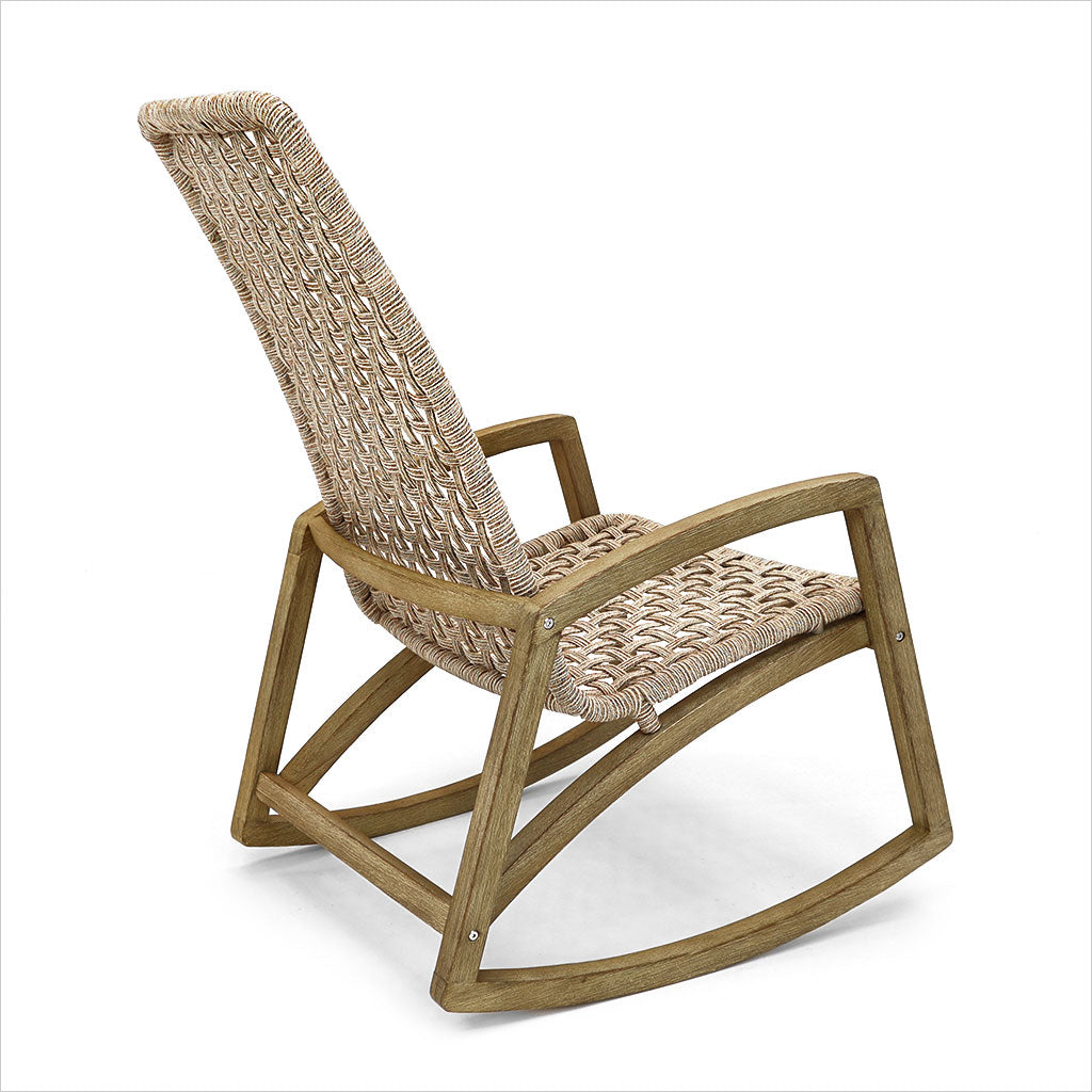 outdoor rocker with woven rope seating
