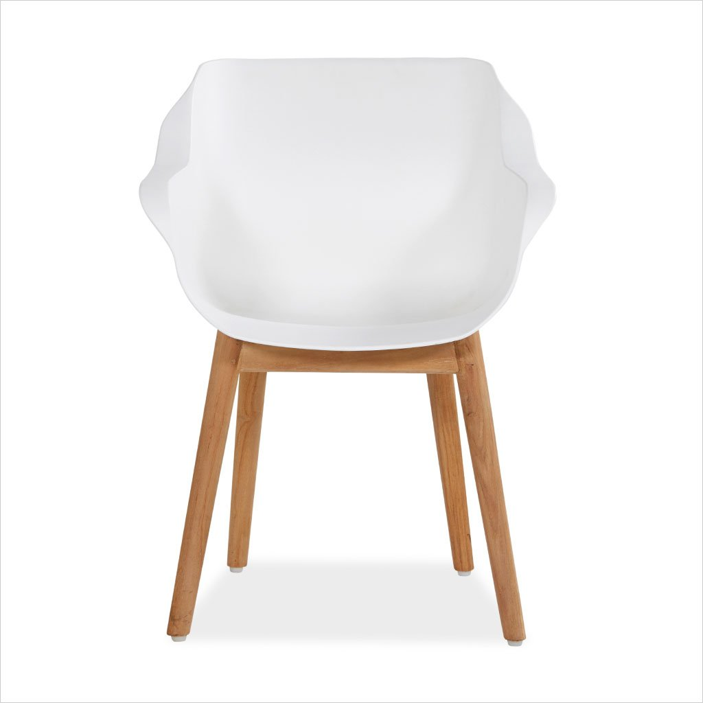 outdoor dining armchair in white with teak legs