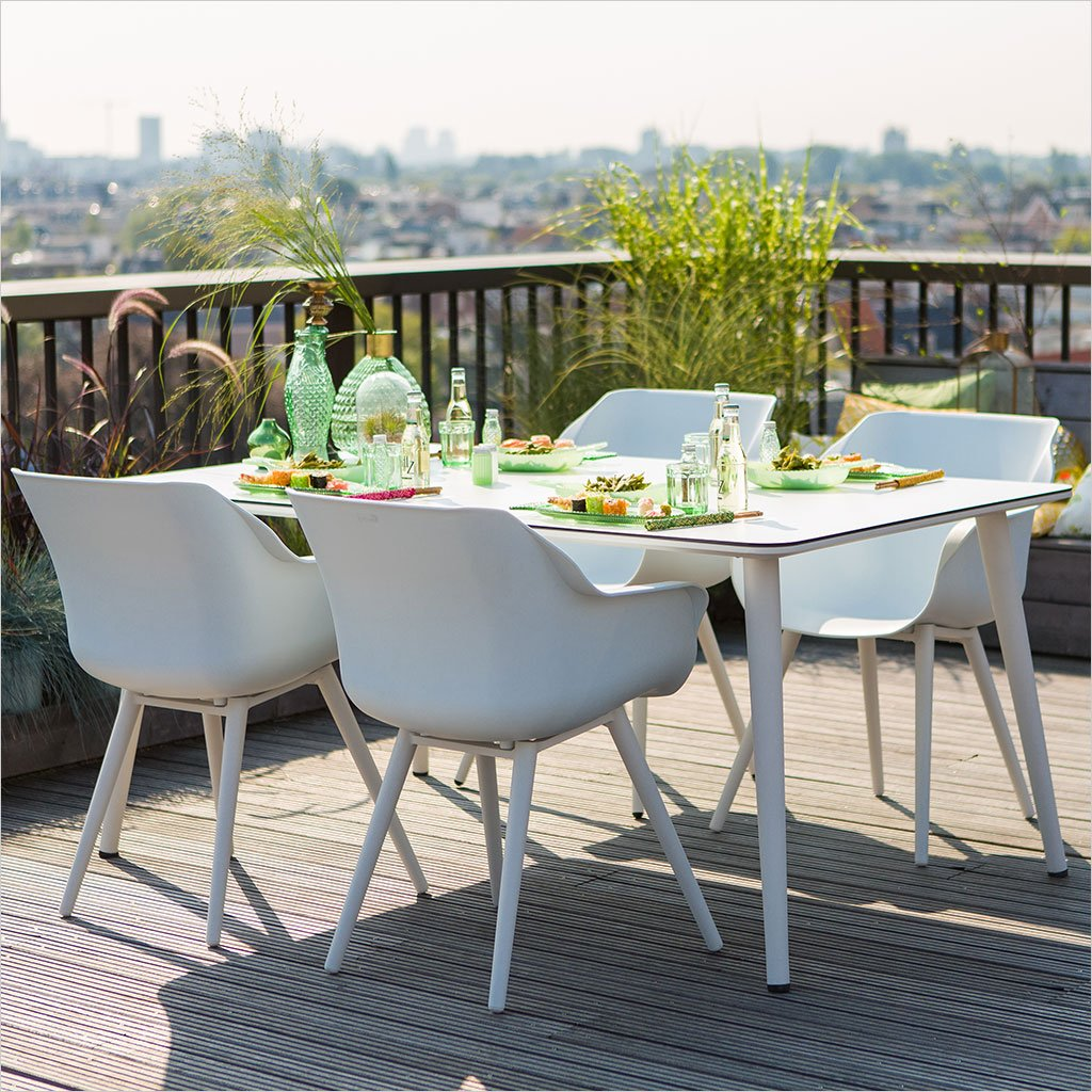 outdoor dining armchair in white