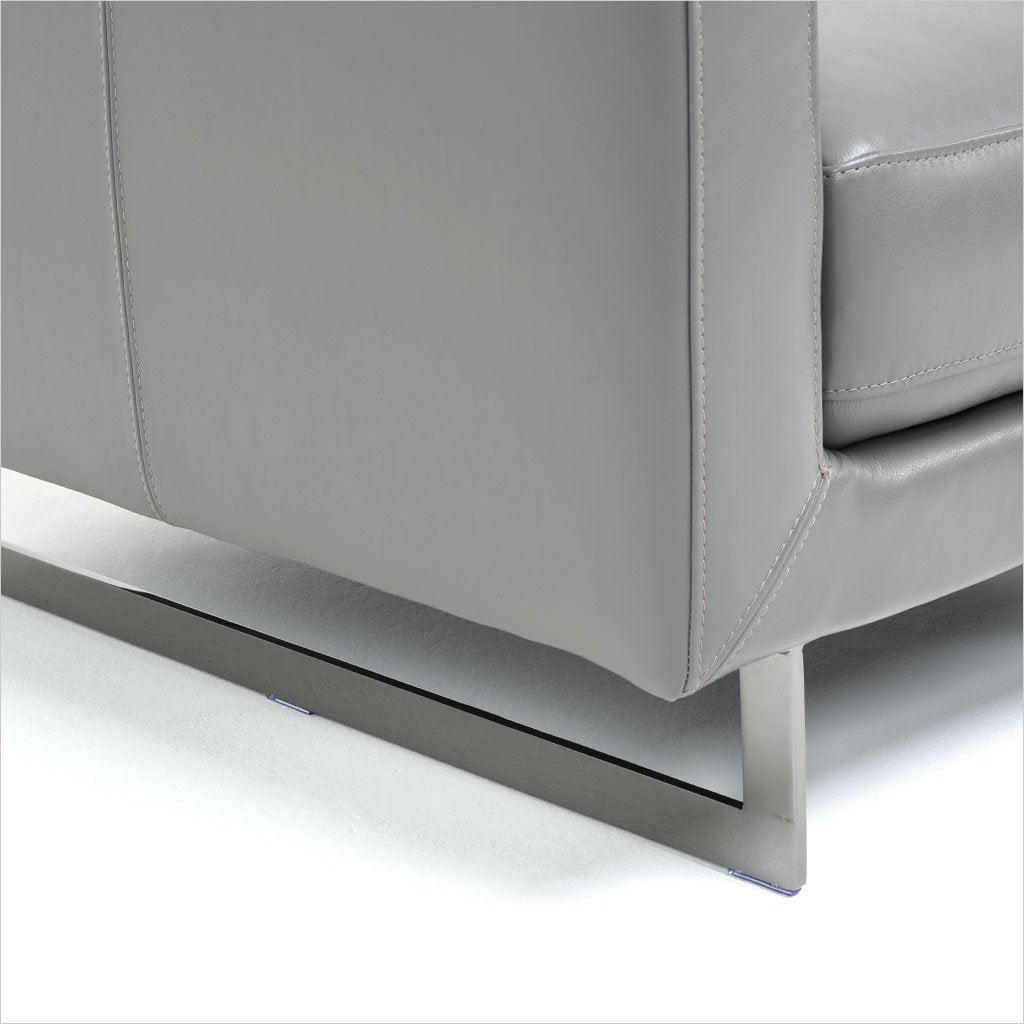 3-seat sofa in grey leather