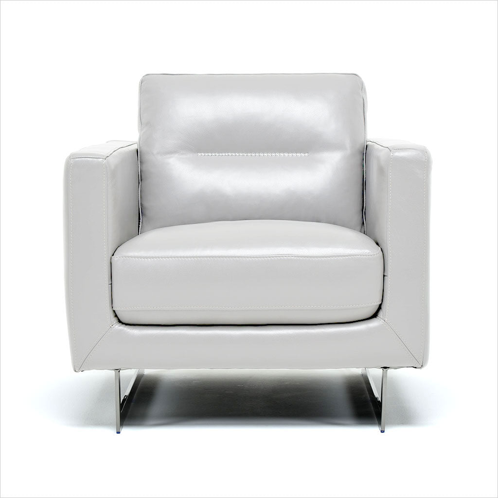 light grey leather armchair with metal legs