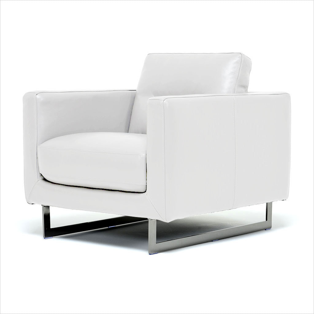 white leather armchair with metal legs