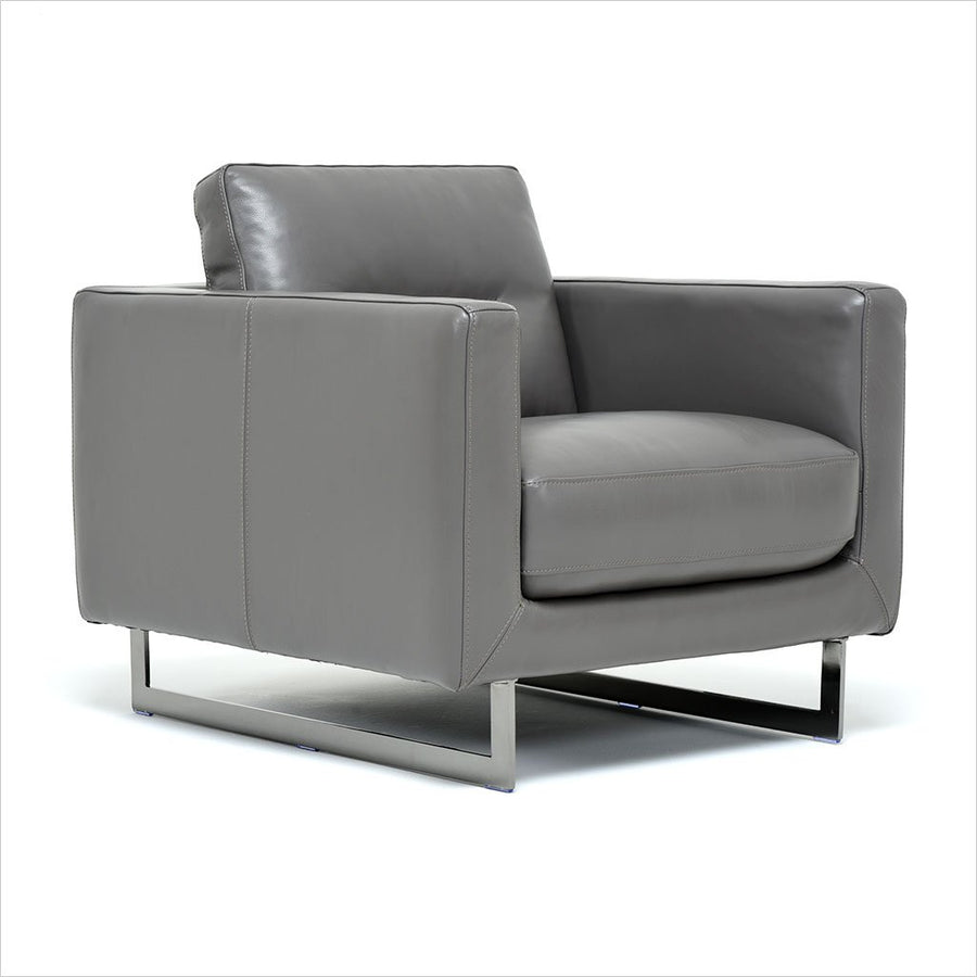 grey leather armchair with metal legs
