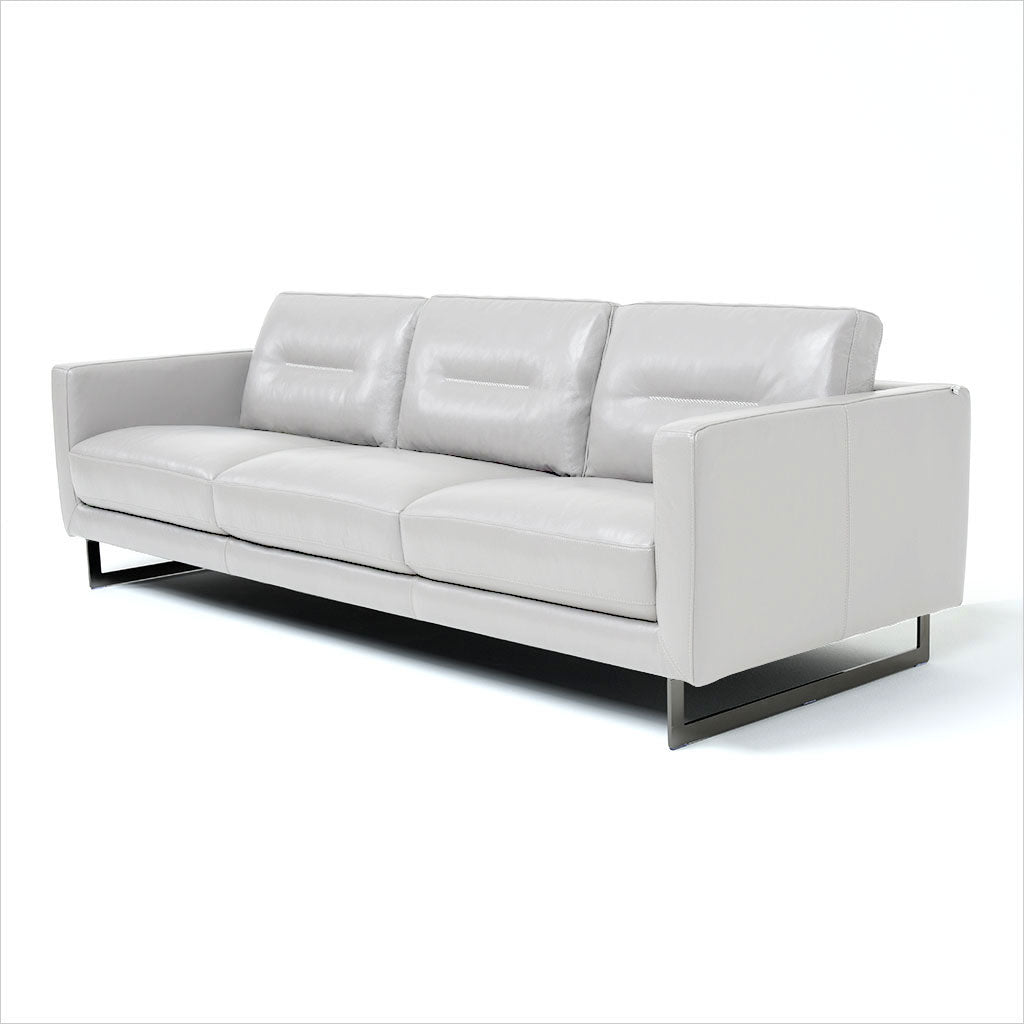 3-seat sofa in light grey leather