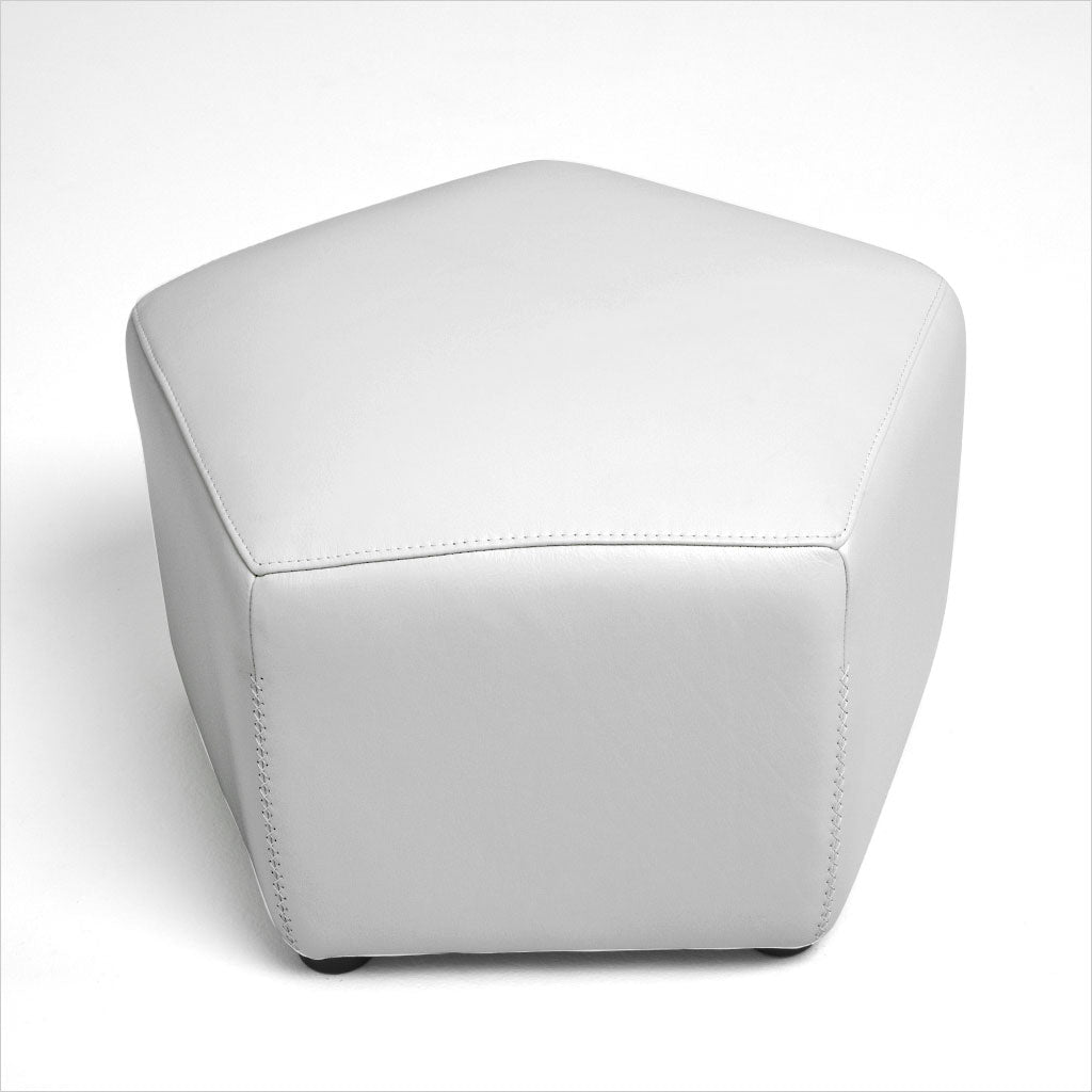 hexagon shaped leather ottoman