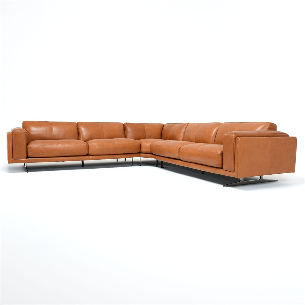 leather sectional with metal legs